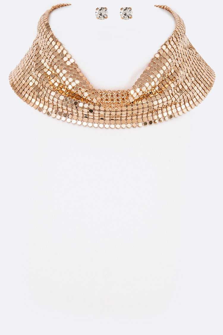 Chain Mill Statement Choker Set