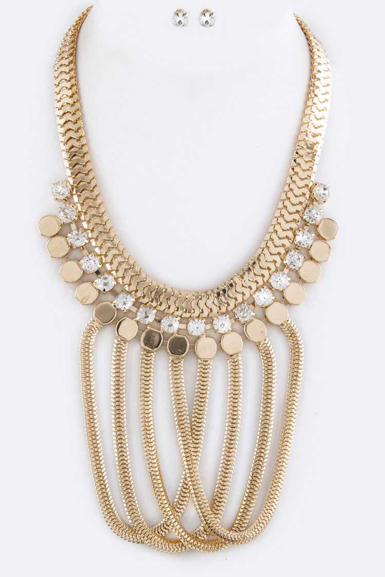 Hooped Chains Statement Necklace Set