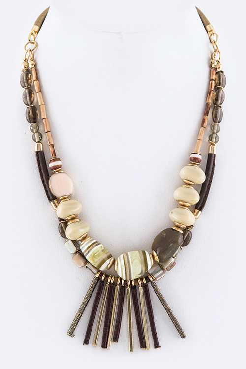 Mix Beads & Fringe Bars Layer Necklace