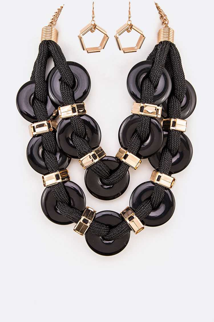 Metallic Rope Weaved Bakelite Disk Statement Necklace Set