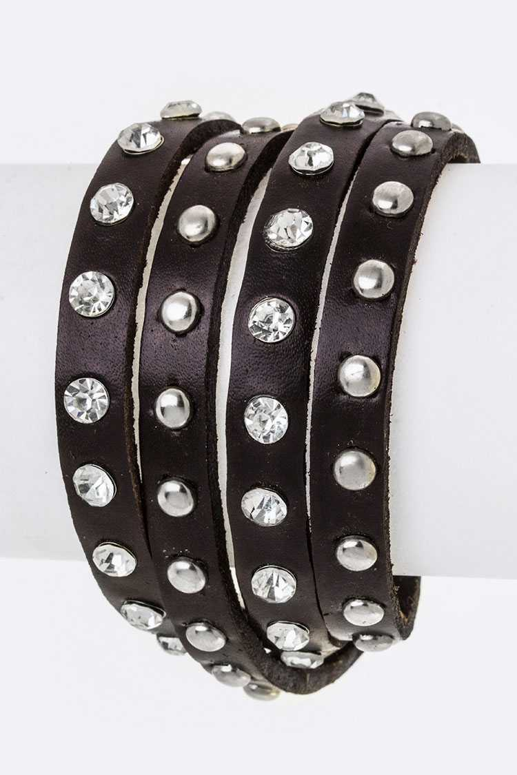 Crystal & Metal Studs Wrapped Layer Bracelet