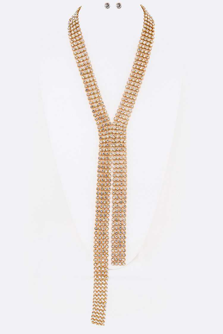 Crystal Mesh Chain Statement Necklace Set