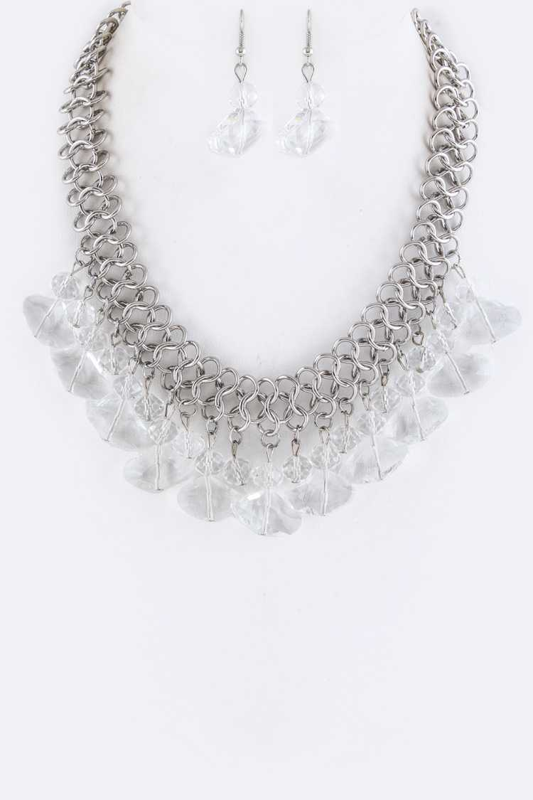 Fringe Beads Statement Necklace Set
