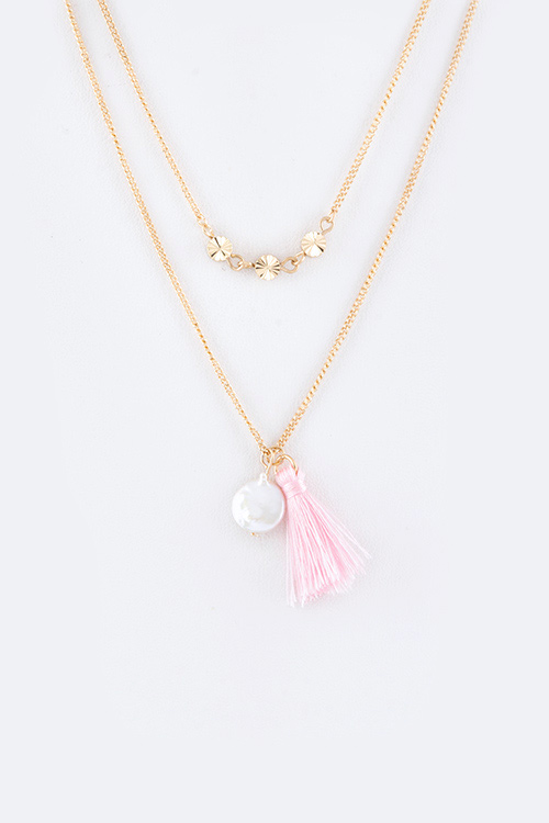 Pearl & Tassel Layer Necklace Set