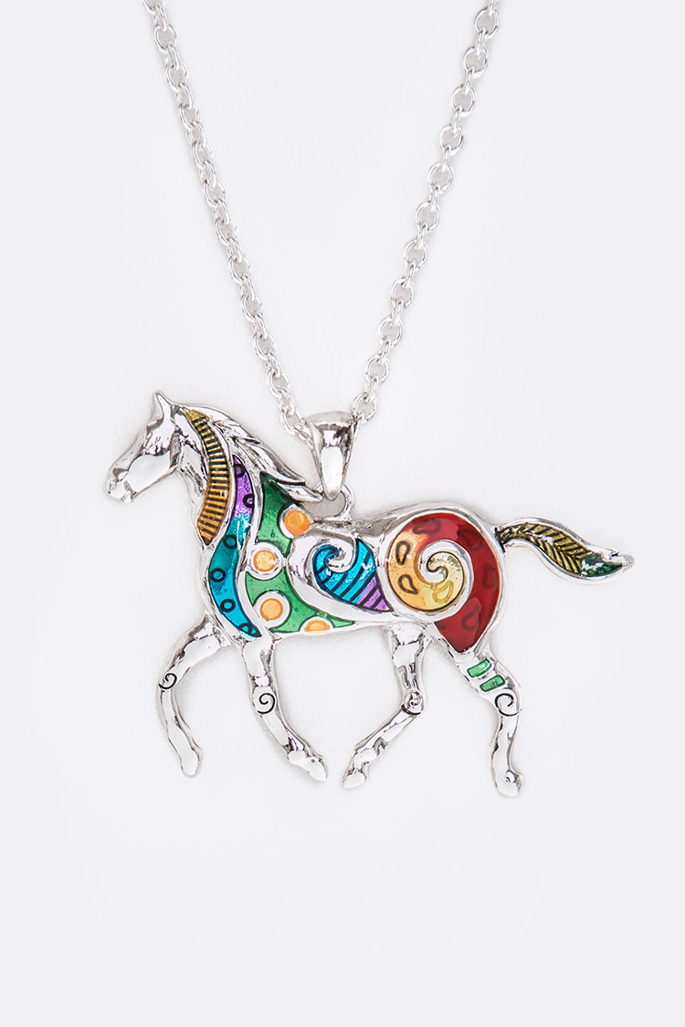 Multi Color Horse Medallion Necklace