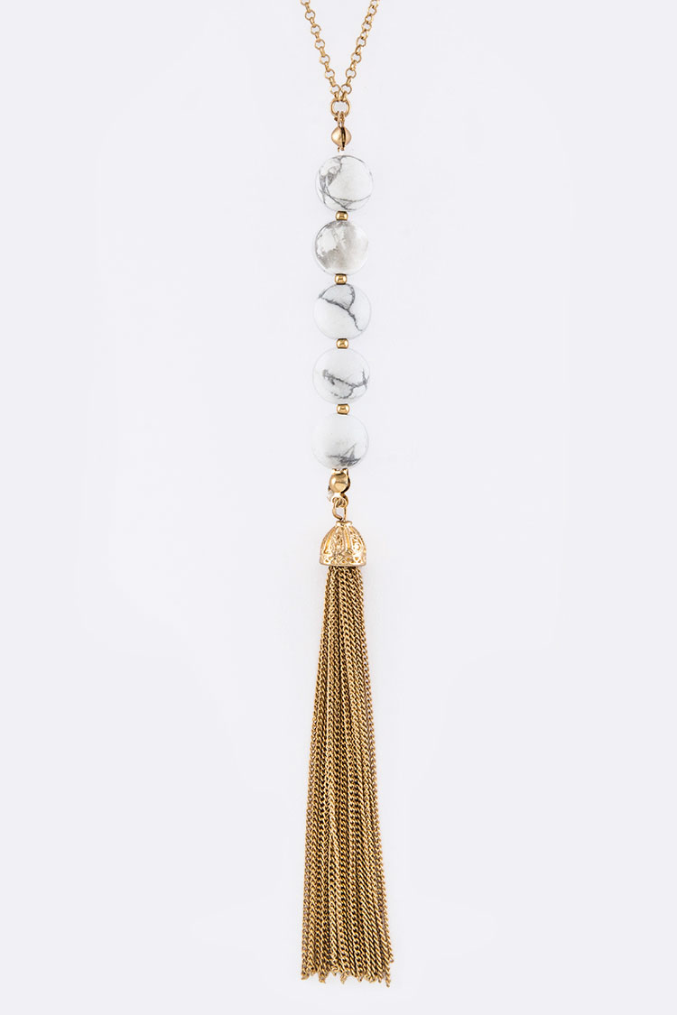 Semi Precious Beads & Tassel Necklace