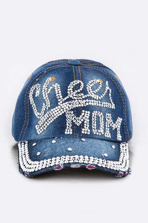 Crystal Cheer MOM Embellished Fashion Denim Cap