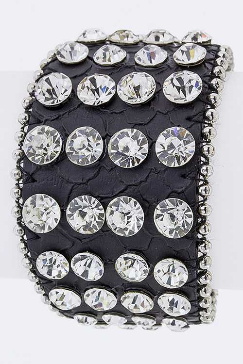 Encrusted Crystals Leather Cuff