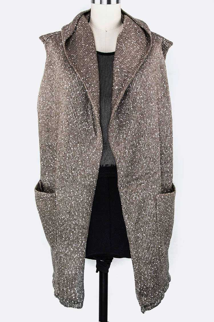 Large Pockets Hooded Slouchy Knitted Vest