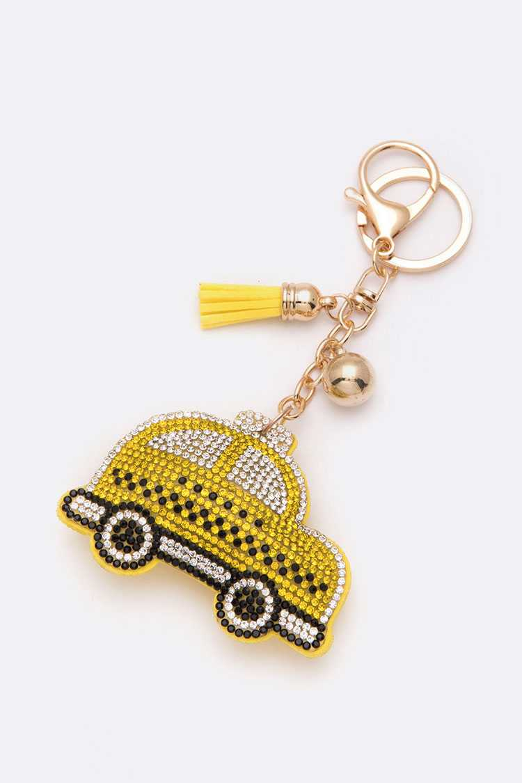 Crystal TAXI Puff Key Chain