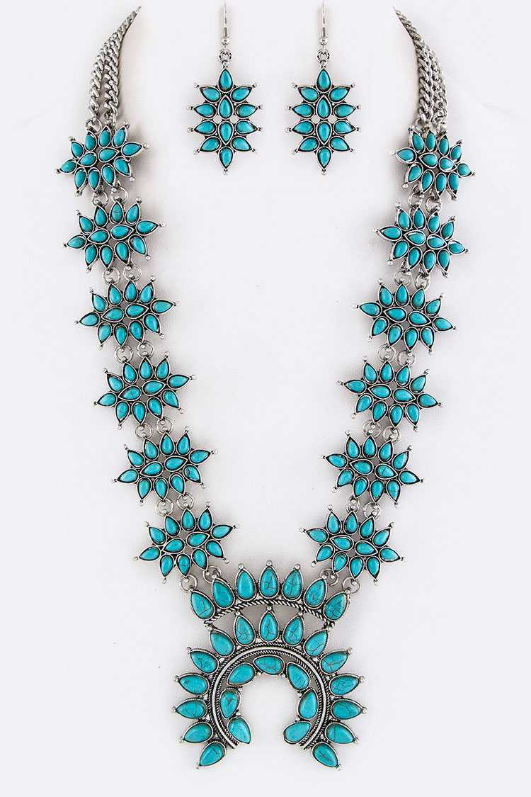 Squash Blossom Statement Turquoise Necklace Set