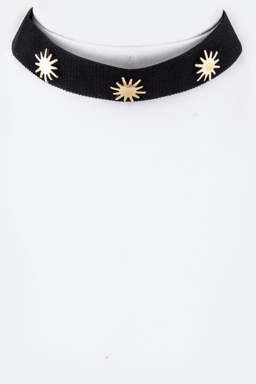 Metal Suns Suede Choker Necklace