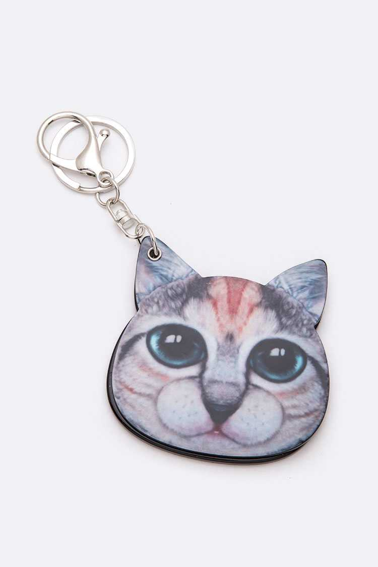 Cat Print Mirror Key Chain