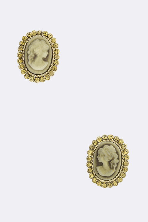 Crystal Cameo Heirloom Studs
