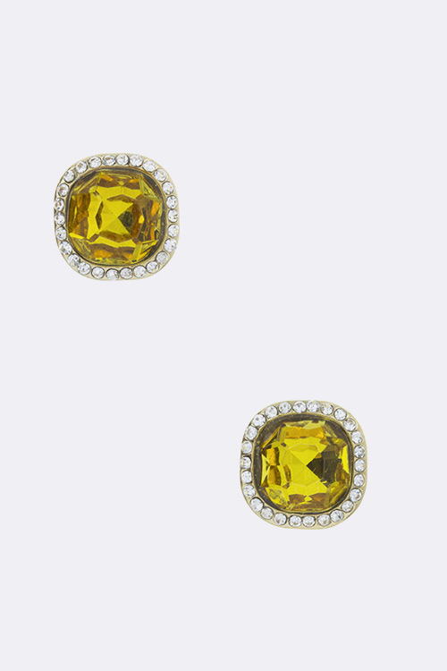 Crystal Square Studs