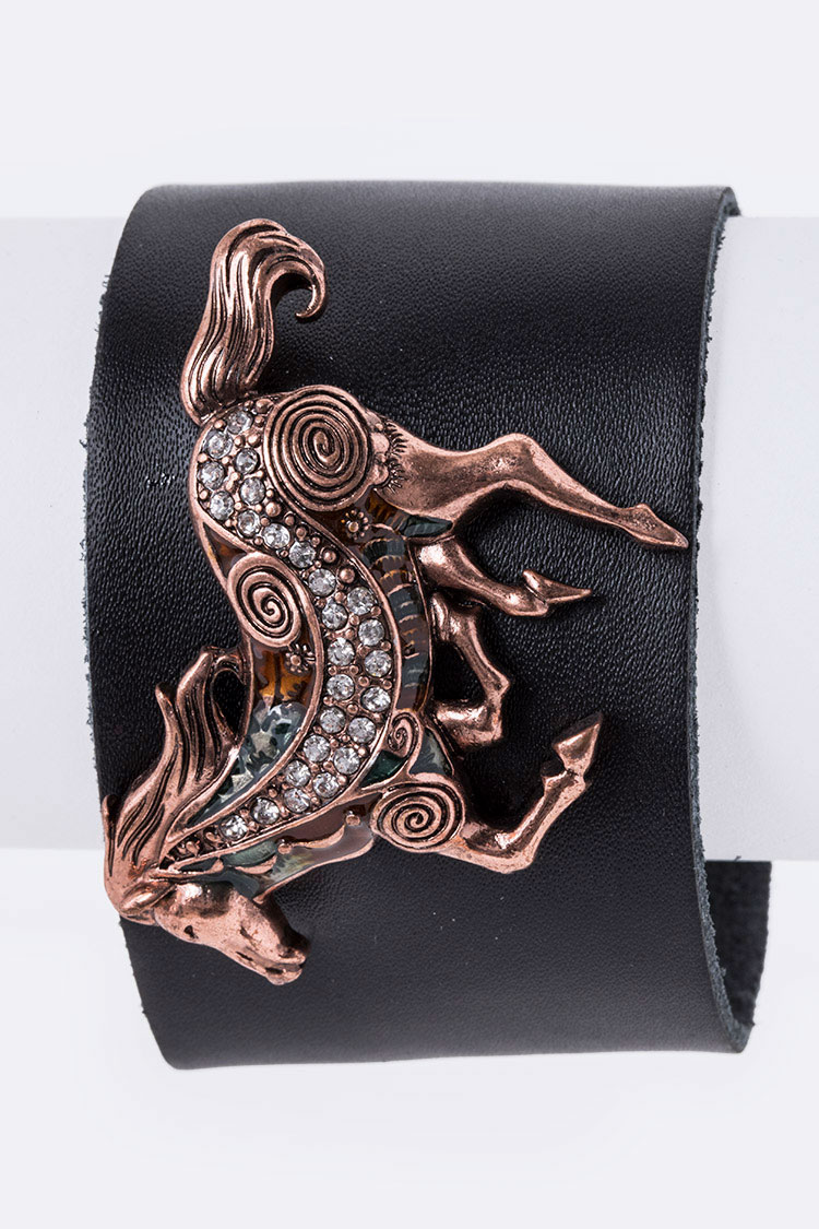 Crystal Horse Leather Cuff