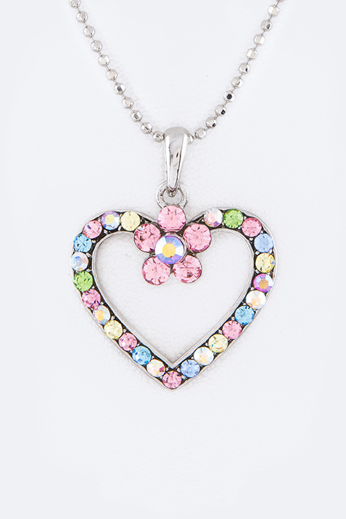 Crystal Heart Flower Pendant Necklace