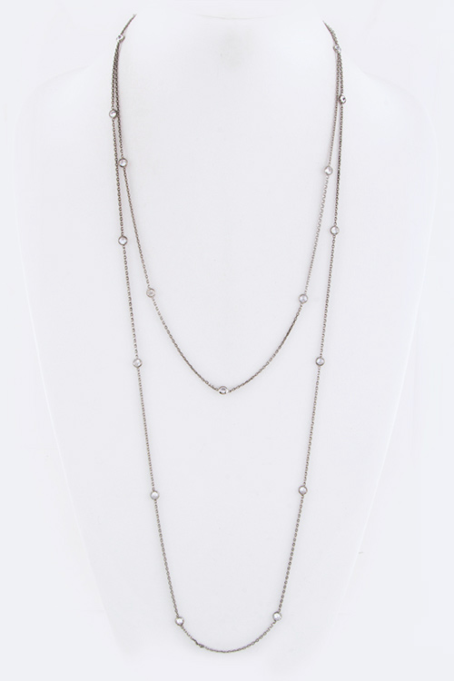 Diamond By The Yard 20 CZ Station Long Station Necklace