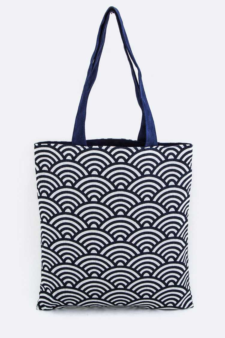 Japanese Wave Pattern Canvas Tote