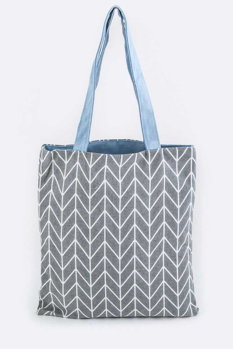 Chevron Pattern Canvas Tote