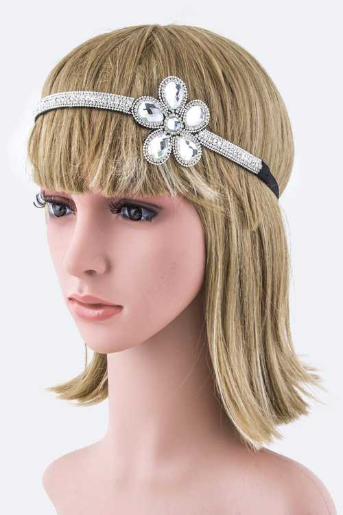 Crystal & Rhinestones Floral Stretch Headband