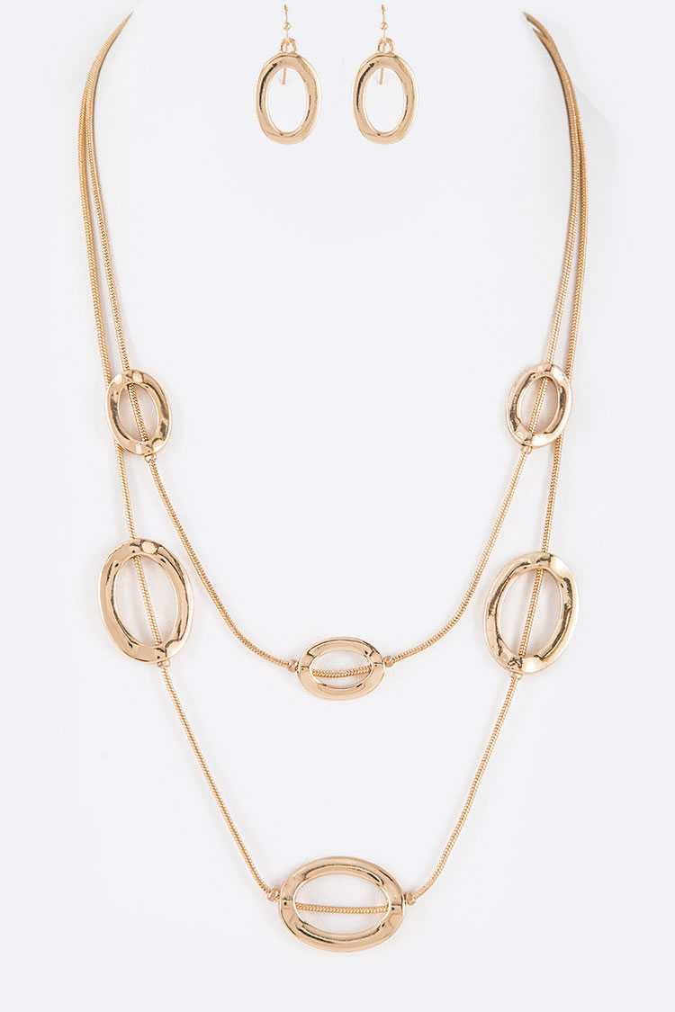 Metal Ring Station Layer Necklace Set
