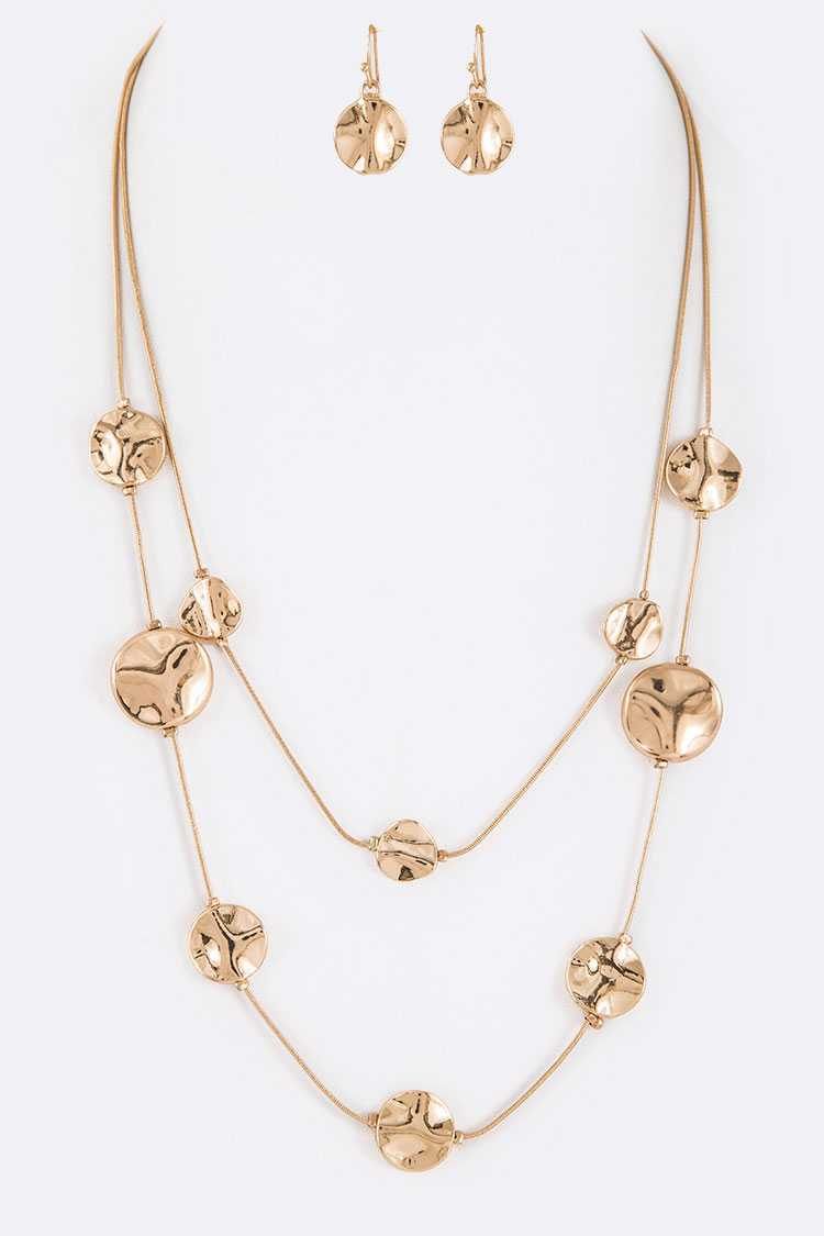 Metal Disk Layer Necklace Set
