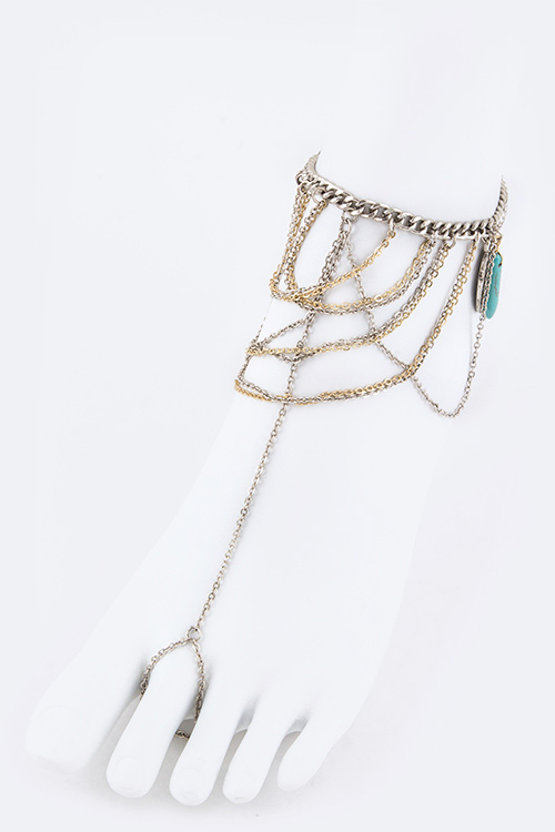 Turquoise Drop Layer Chain Toe Ring Anklet