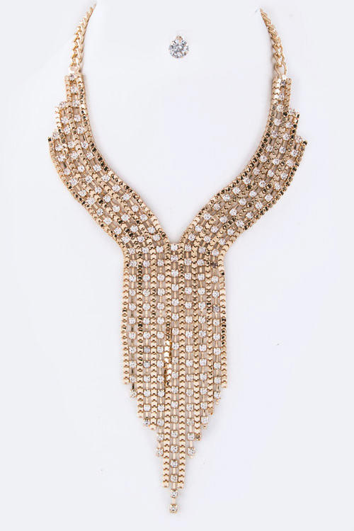 Crystal & Box Chain Fringe Layer Necklace Set