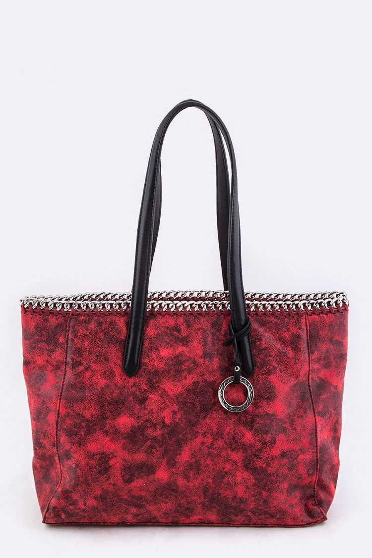 Laced Chain Shimmery Distressed Tote