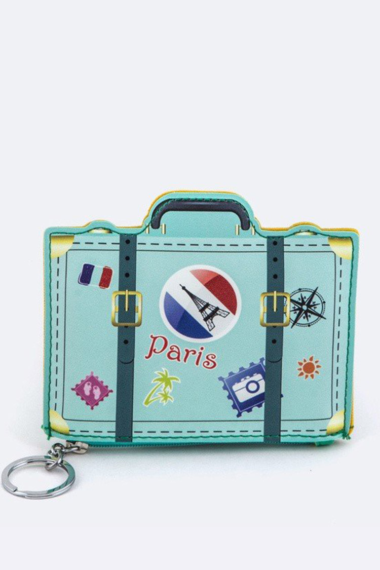 Paris Suit Case Coin Purse