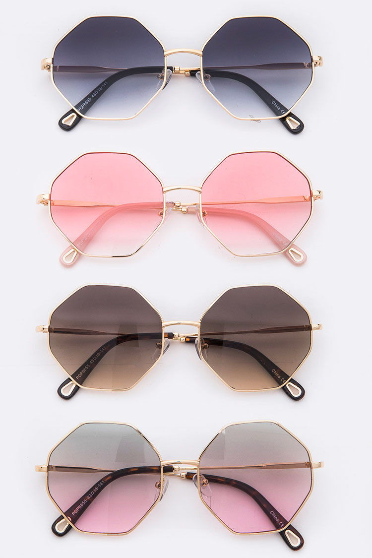 Gradient Lens Iconic Round Sunglasses