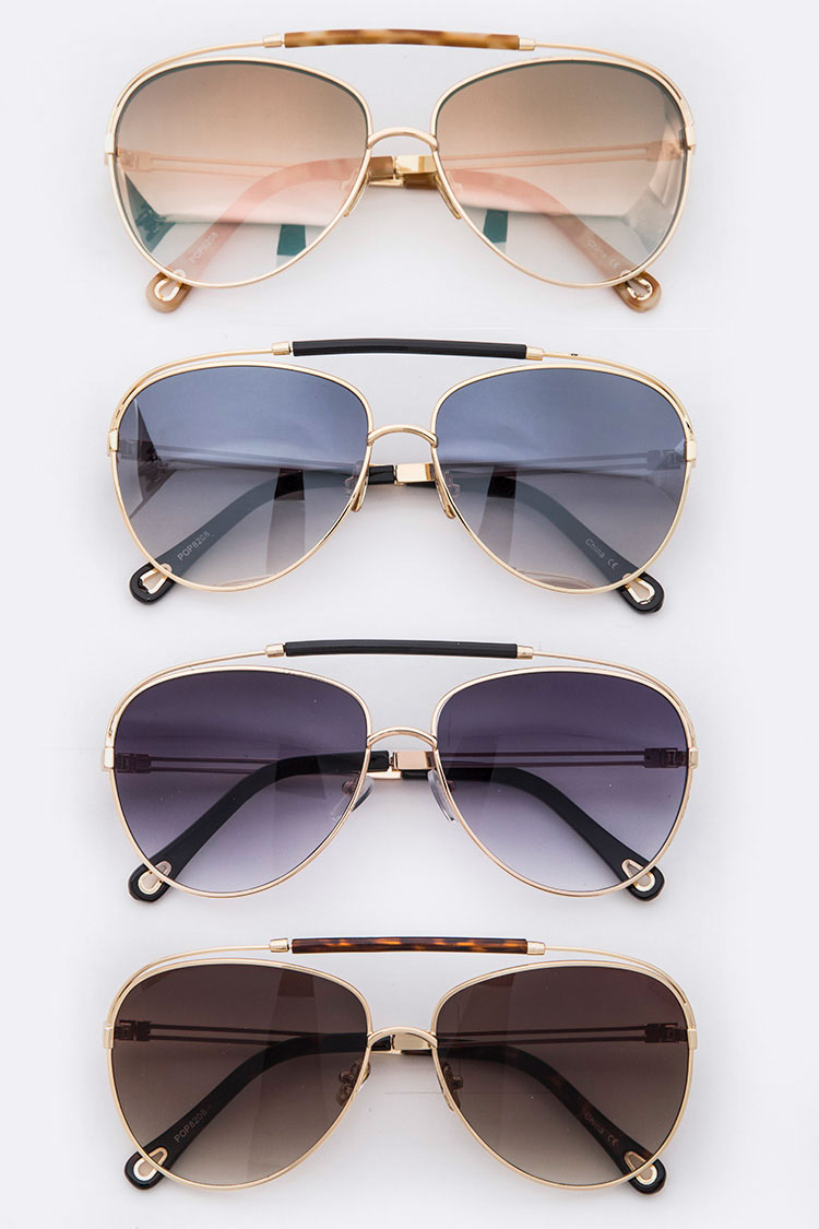 Resin Top-Bar Aviator Sunglasses