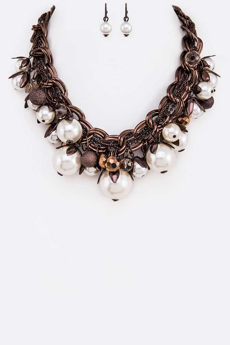Mix Pearls Crystal Beads Statement Necklace Set