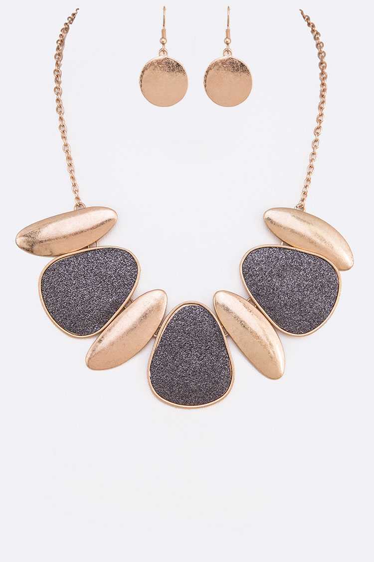 Glitter Metal Pendant Necklace Set