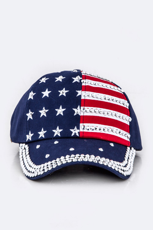 Crystal Embellished US Flag Cap