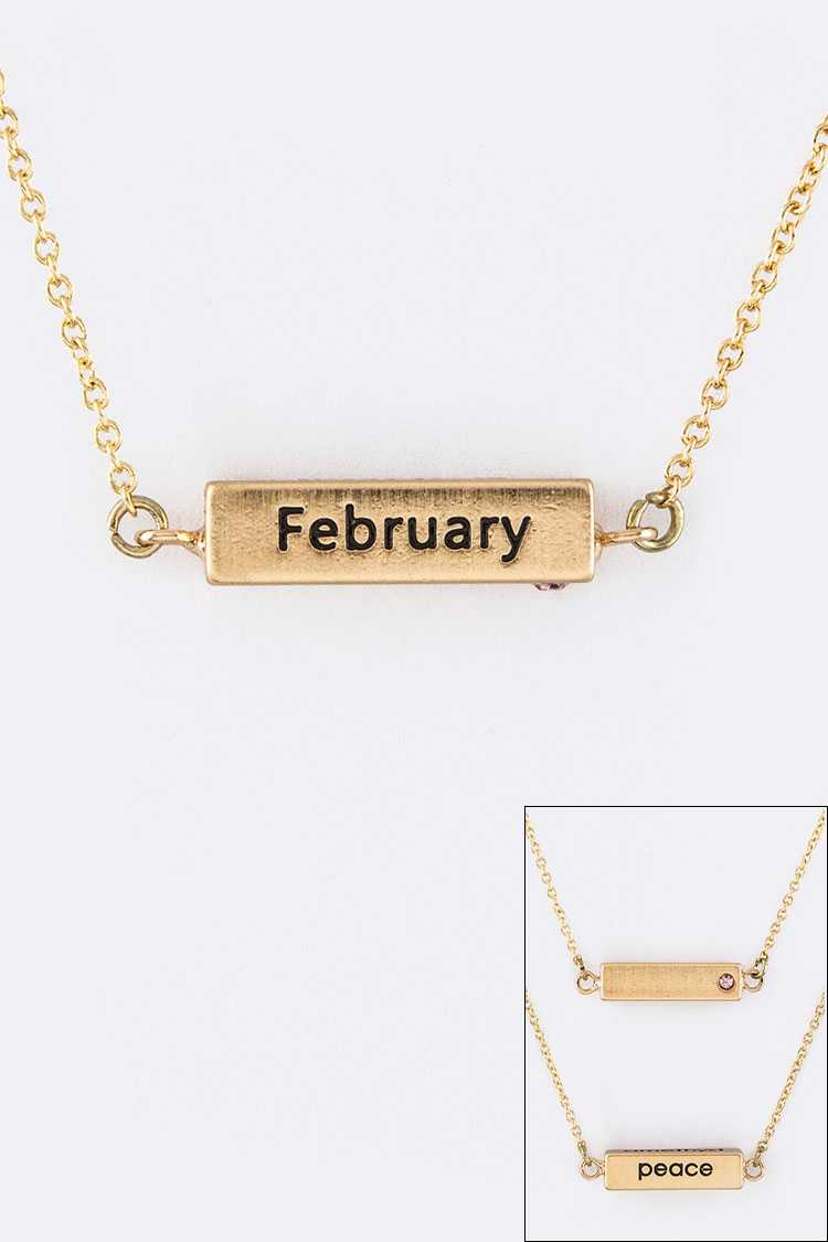 February Birth Stone Pendant Necklace