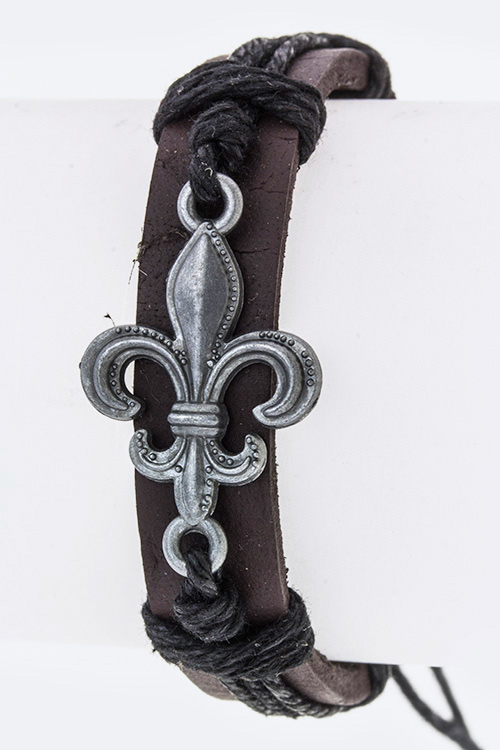 Fleur De Lis Drawstring Leather Bracelet