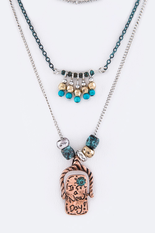 It's a New Day Spinner Charm Layer Necklace Set