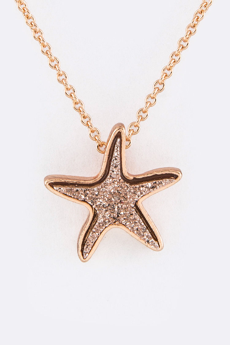 Druzy Starfish Pendant Necklace Set