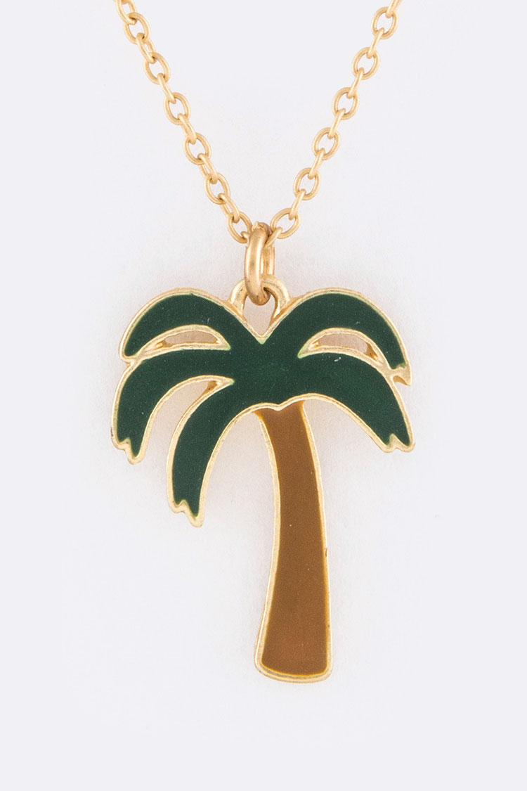 Palm Tree Pendant Necklace Set