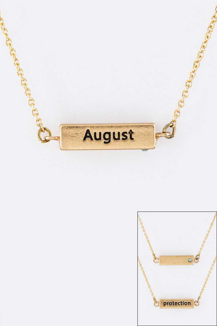 August Birth Stone Pendant Necklace