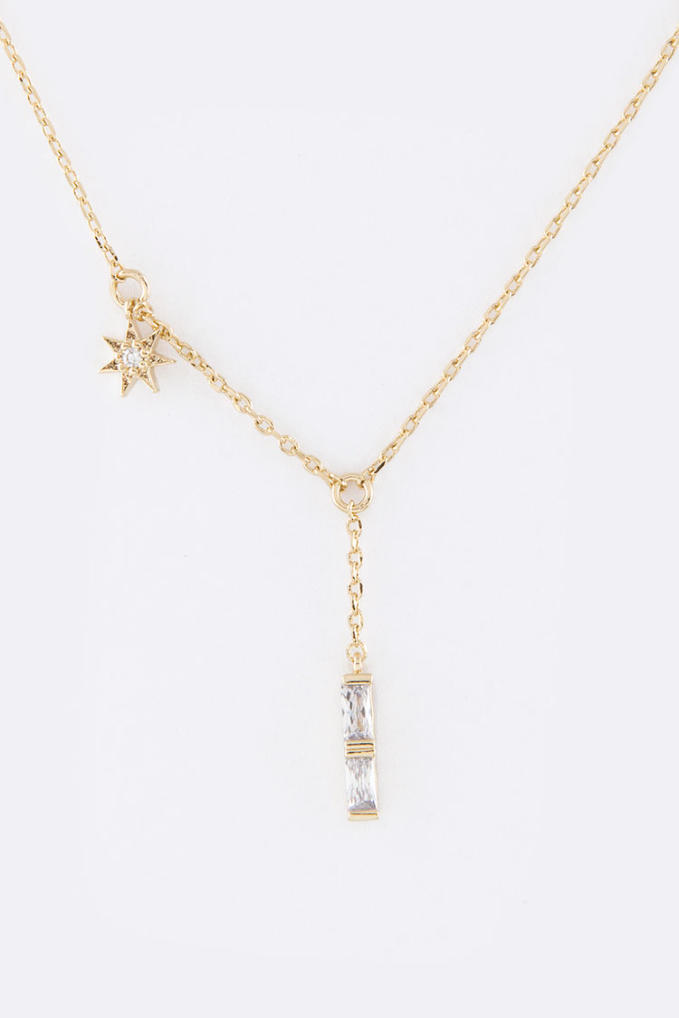 CZ Drop & Star Charm Necklace