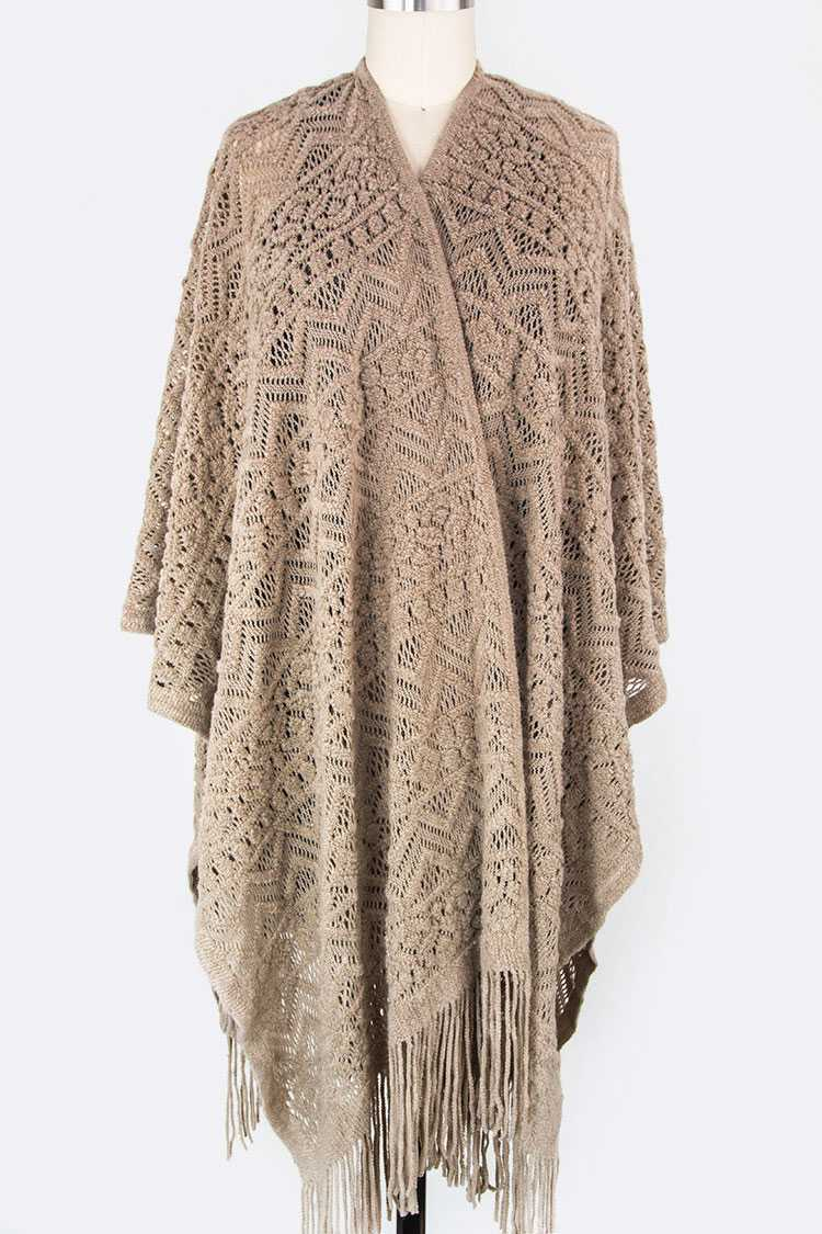 Loose Knit Fringe Shaped Cardigan