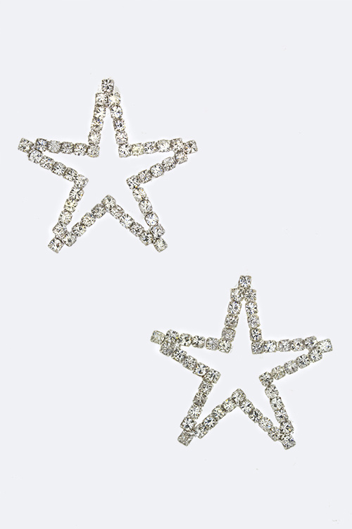 Crystal Open Star Stud Earrings