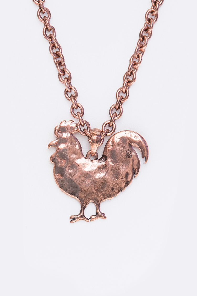 Hammered Rooster Pendant Necklace