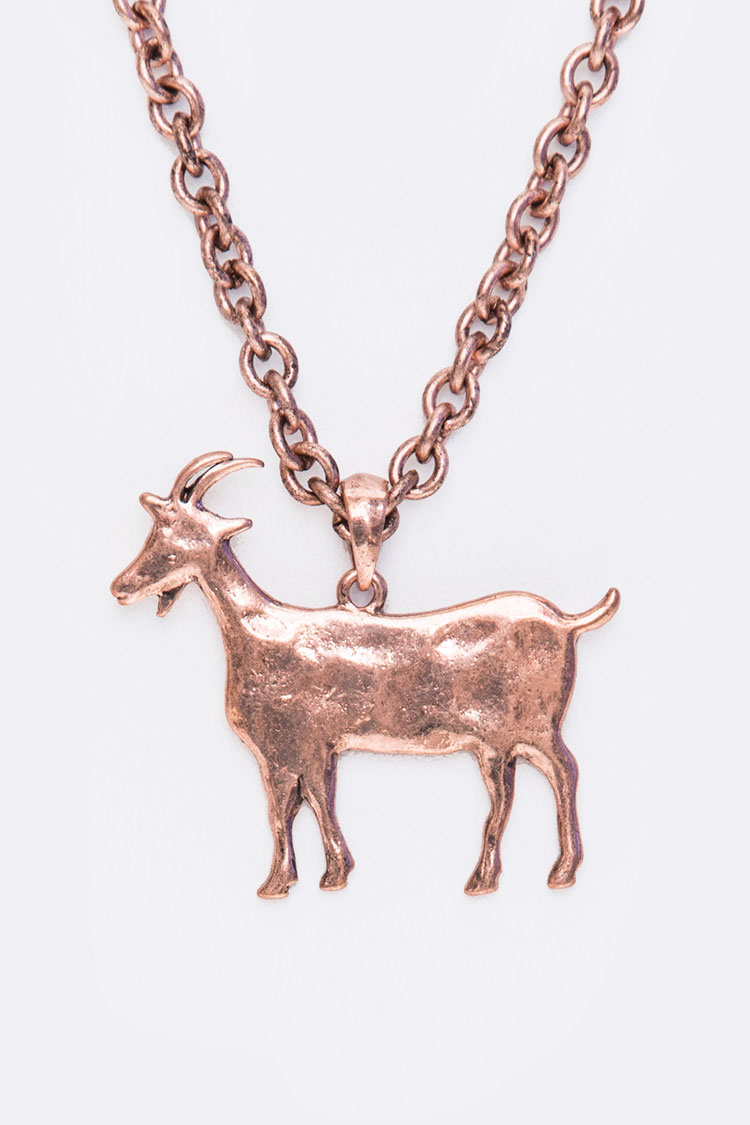 Hammered Goat Pendant Necklace