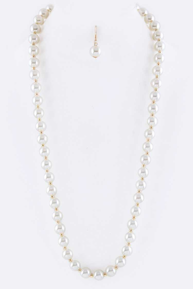 Pearl & Bead Station Necklace Set
