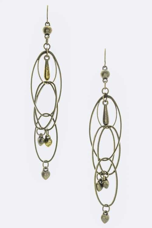 Linked Hoop & Heart Charm Earrings