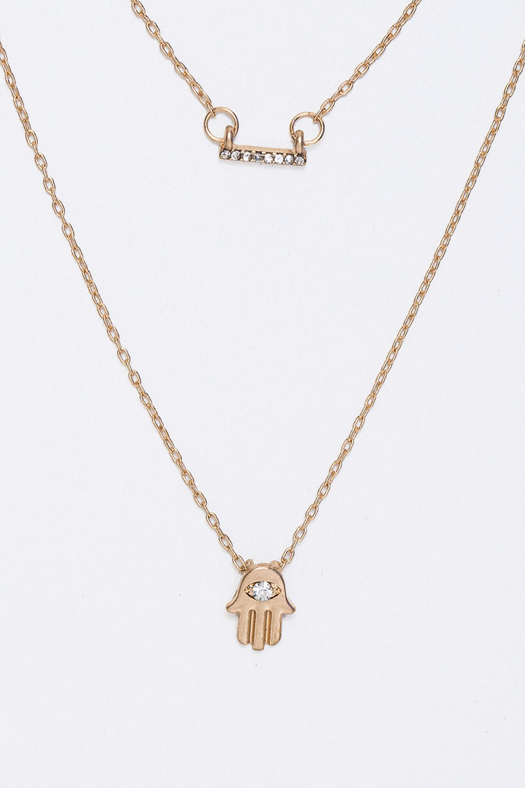Petite Crystal Hamsa Layer Necklace Set